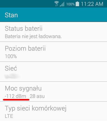 Android moc sygnału