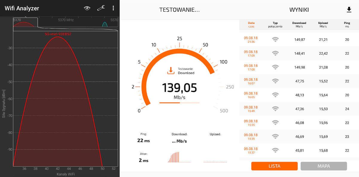 Wi-Fi 5 GHz smartfon