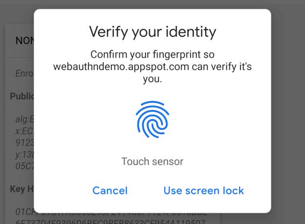Chrome odcisk palca