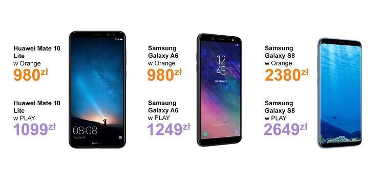 Orange vs Play ceny smartfonów