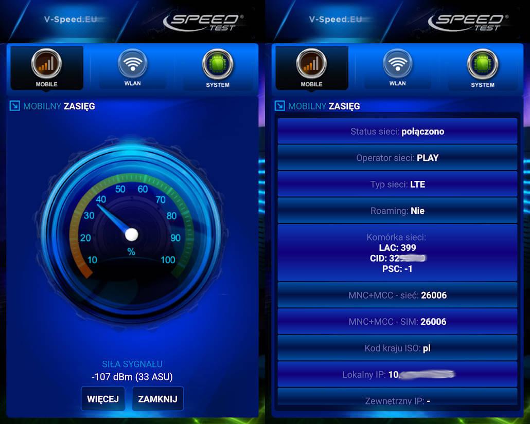 Speed Test zasięg