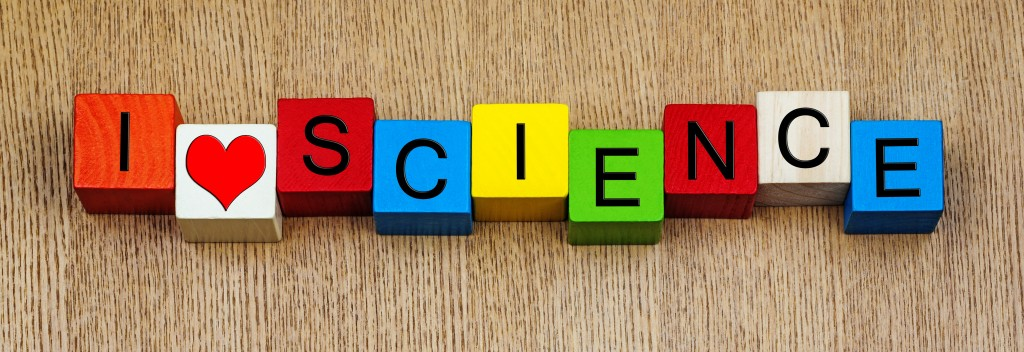 I Love Science - sign or banner for scientific research, education, discovery and knowledge.