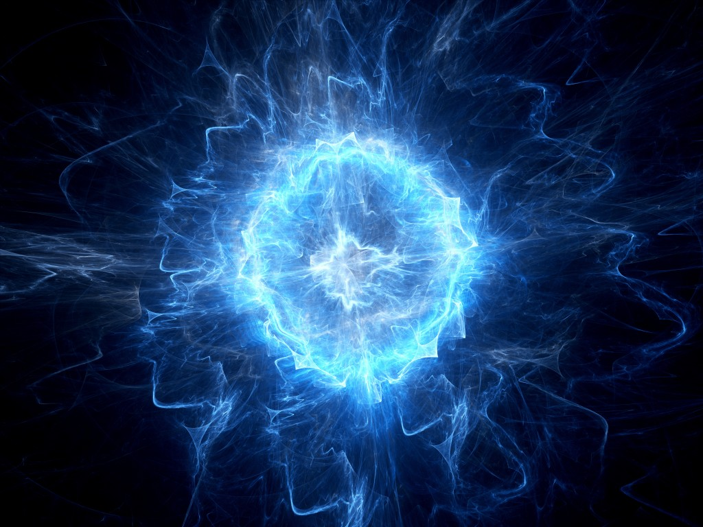 Blue glowing ball lightning, computer generated abstract background