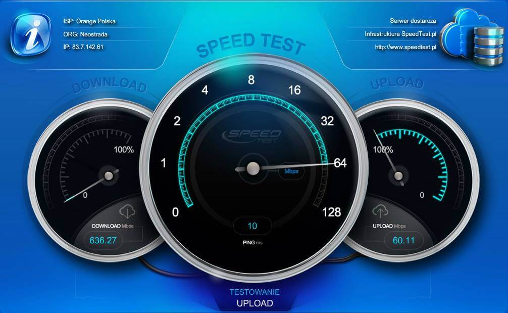 Orange światłowód SpeedTest