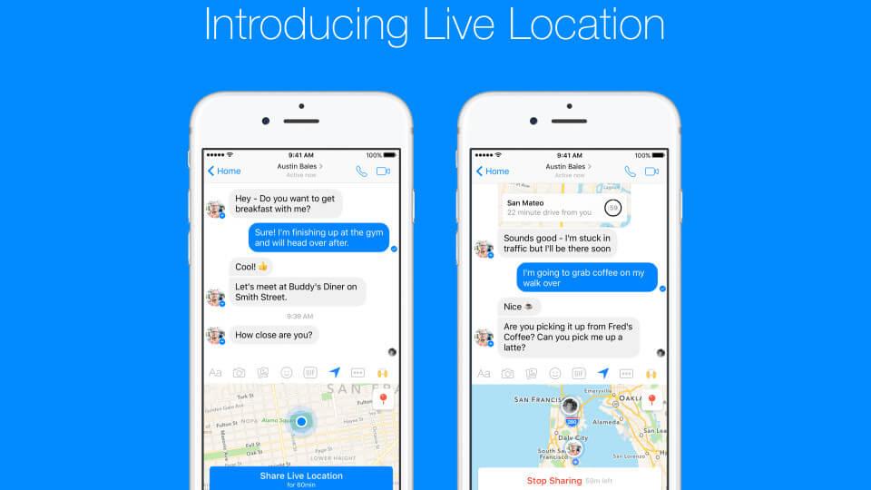 Facebook messenger Live Location