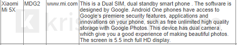 Xiaomi Mi 5X A1