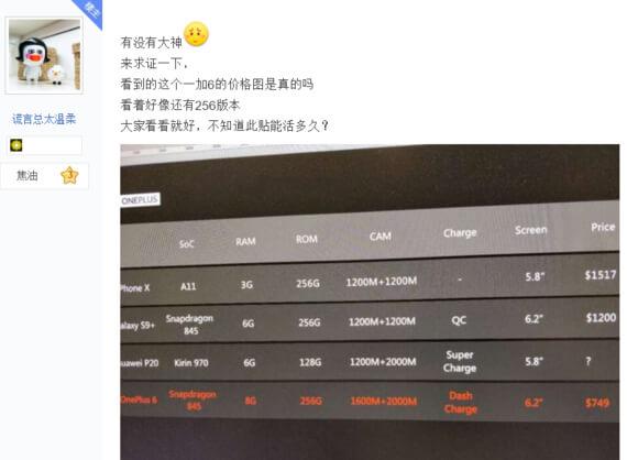 OnePlus 6 cena