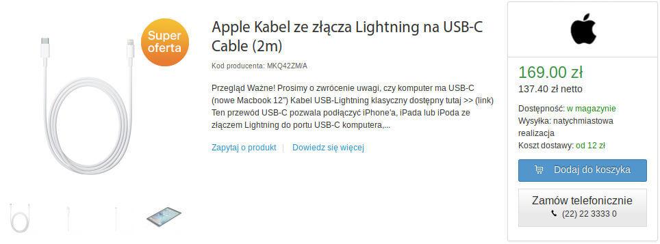 Apple kabel USB-C Lightning