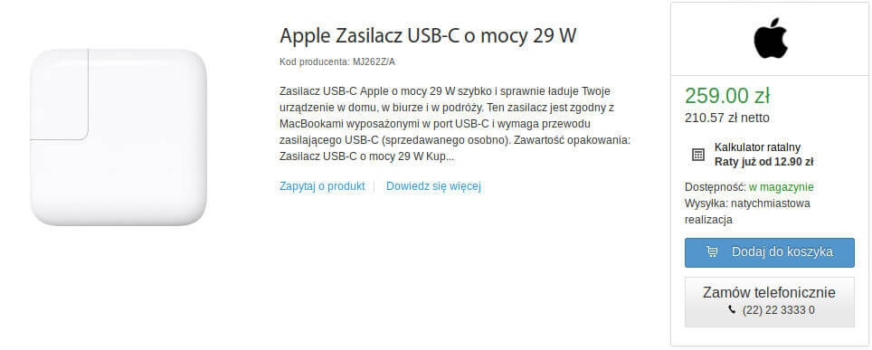 Apple zasilacz 29 W