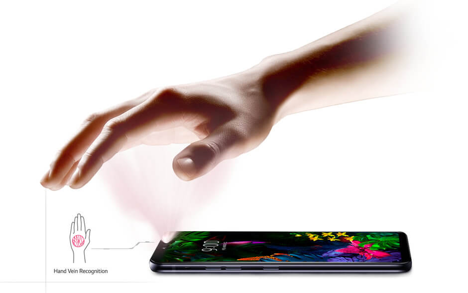 LG G8 ThinQ skanowanie żył w dłoni
