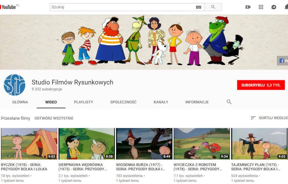 Studio Filmów Rysunkowych YouTube