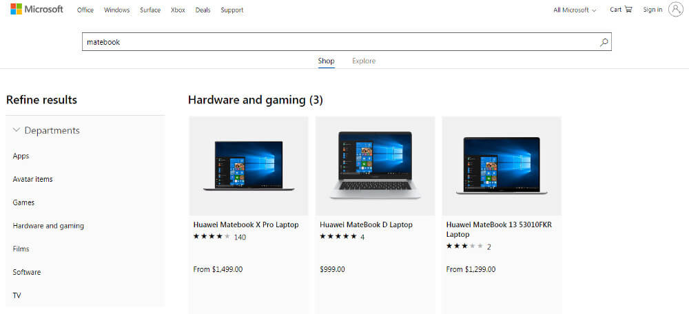 Huawei Microsoft Store