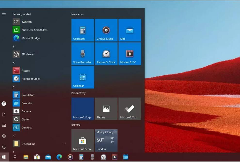 Windows 10X, ikony,