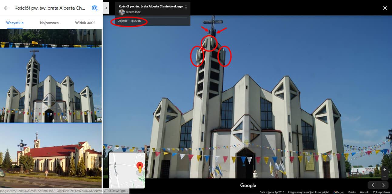 Łódź kościół anteny
