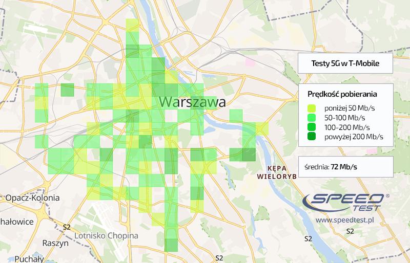 SpeedTest T-Mobile 5G mapa Warszawa