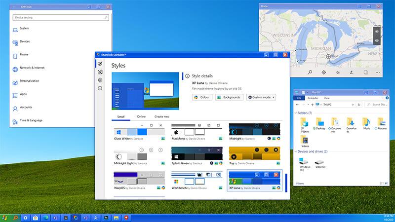 MS Windows 10, windows xp, curtains, stardock,