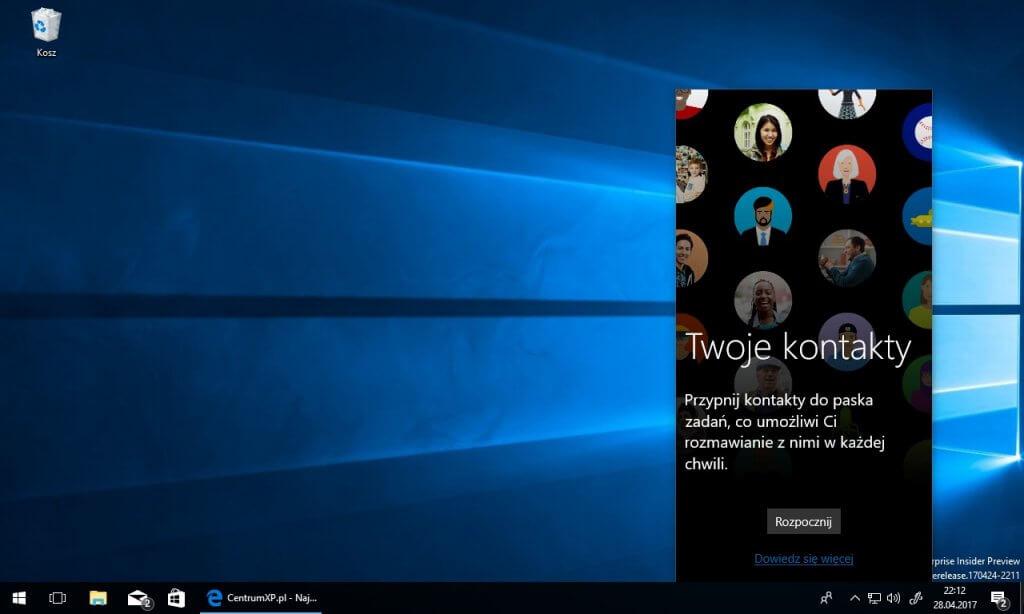 Microsoft Windows 10, kontakty,