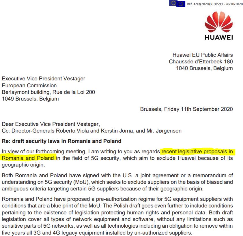 Huawei list Polska Rumunia