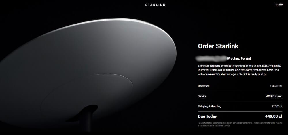 Starlink w Polsce cena
